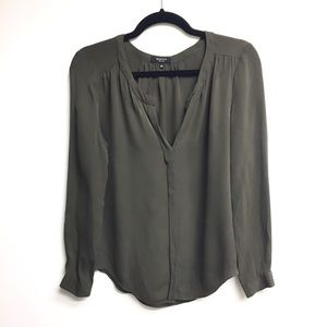 ARITZIA Babaton Silk Long Sleeve Blouse Olive S